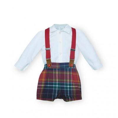 Conjunto pantalón cuadros con tirantes y camisa