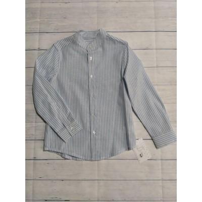 Camisa Lino Rayas Celeste y Blanca