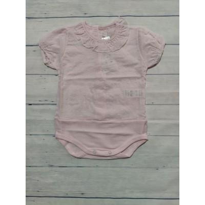 Body plumeti rosa manga corta