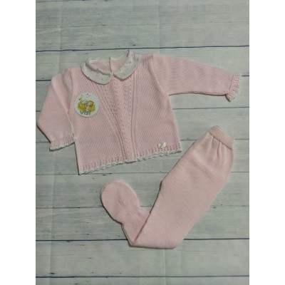 Conjunto bebe jersey y polaina hilo rosa