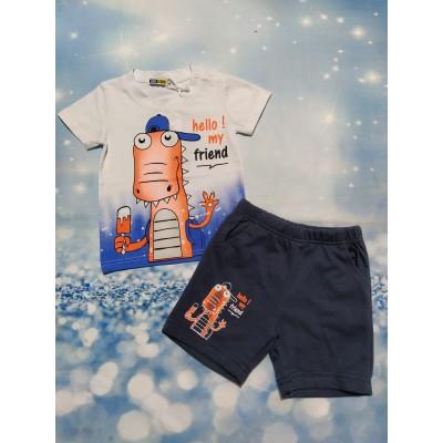 Conjunto Camiseta y Bermuda Dino Blanco