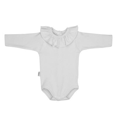 Body cuello volante manga larga blanco