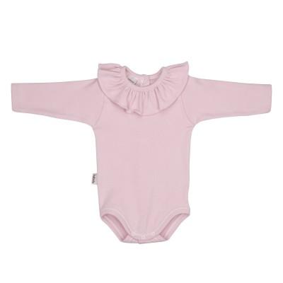 Body cuello volante manga larga rosa