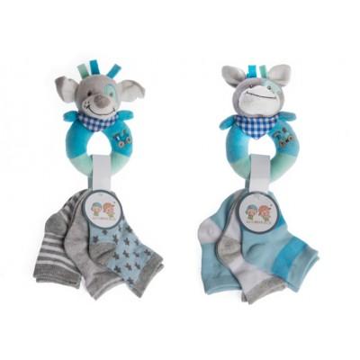 Set Sonajero + Calcetines Azul
