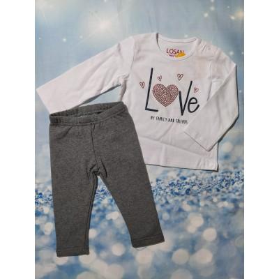 Conjunto Camiseta y Leggings Blanco-Gris Losan