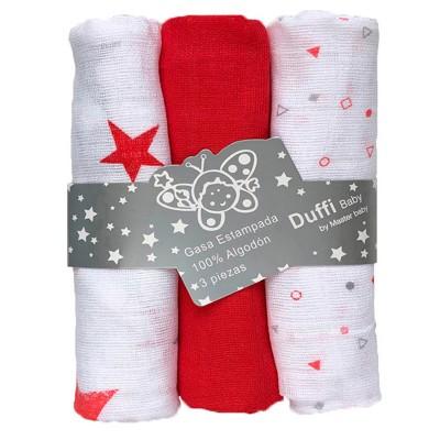Gasa Bebe Roja Duffi Estrellas (Pack de 3 Unidades)