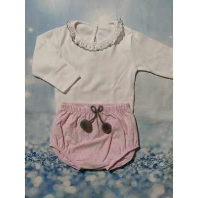 Conjunto Pololo Topitos Rosa y Body