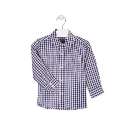 Camisa a Cuadros Con Bolsillo Marino