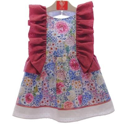 Vestido Estampado Flores Fucsia Del Sur