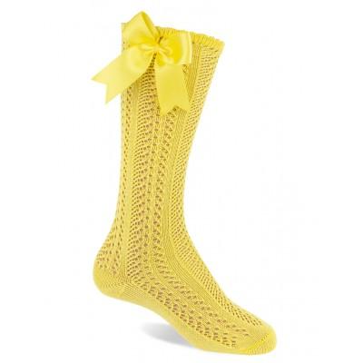 Calcetín Calado Con Lazo Amarillo