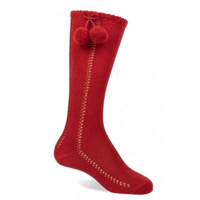 Calcetín Calado Borla Rojo
