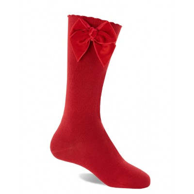 Calcetín Infantil Lazo Terciopelo Rojo